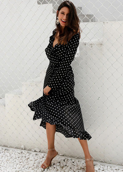 Lennon Split Ruffle Pattern Dress