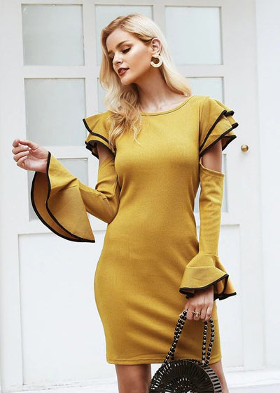 Lauryn Elegant Ruffle O-Neck Sweater Dress