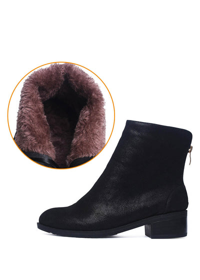 Fur Chunky Heel Zipper Round Ankle Boots