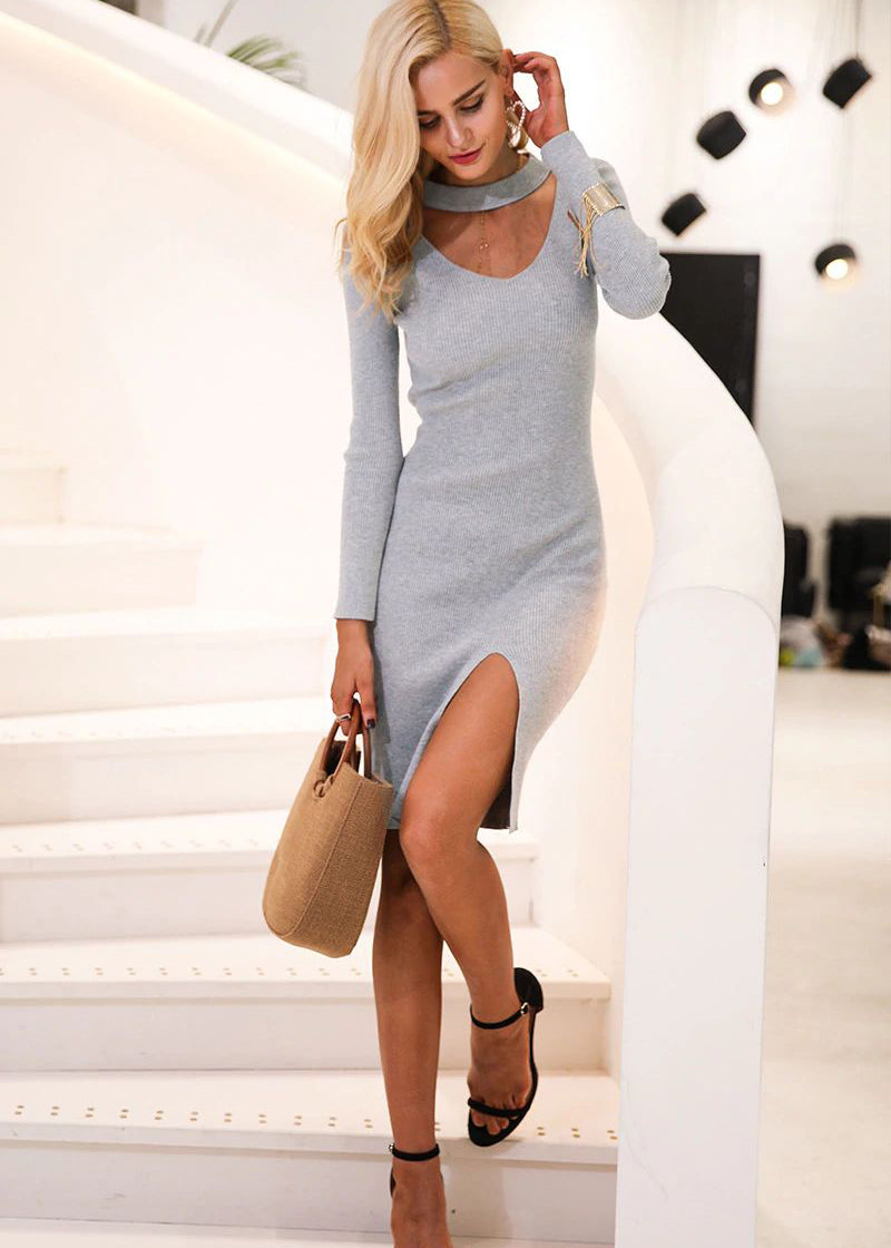 Esme Halter V-Neck Sweater Dress