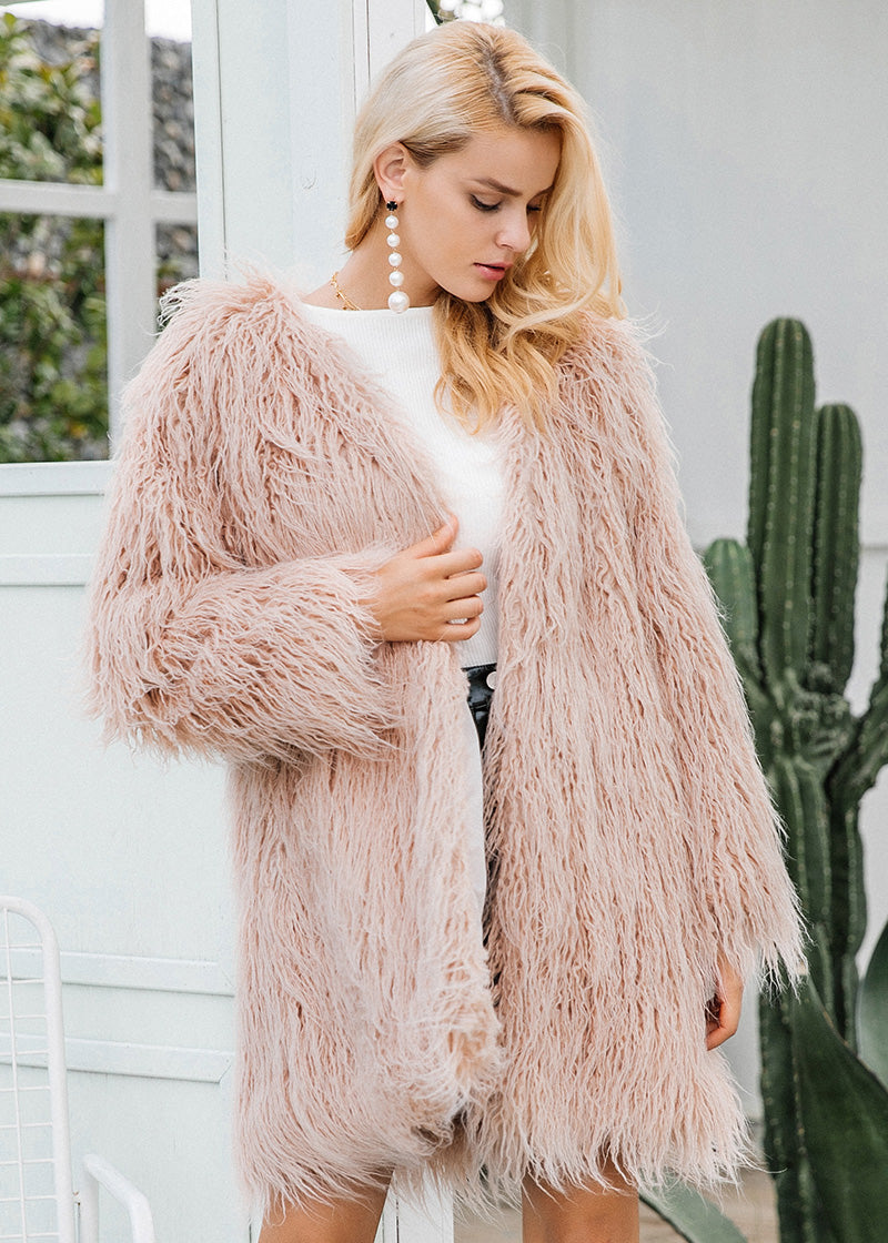 Kaia Long Streetwear Soft Faux Fur Coat