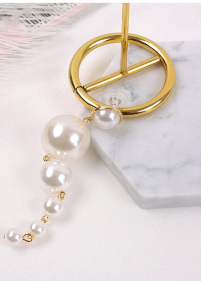 Elegant Big Simulated Pearl Long Earrings