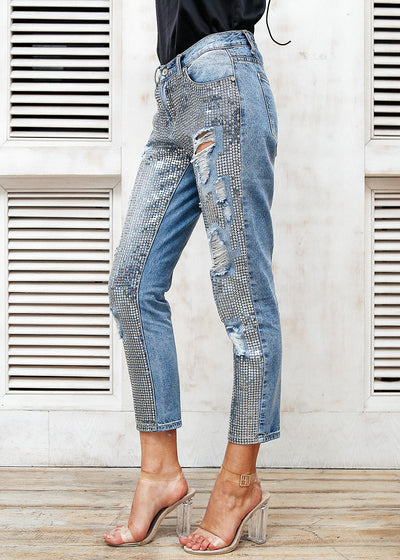Sequin Hole Zipper Fringe Ripped  Blue Jeans