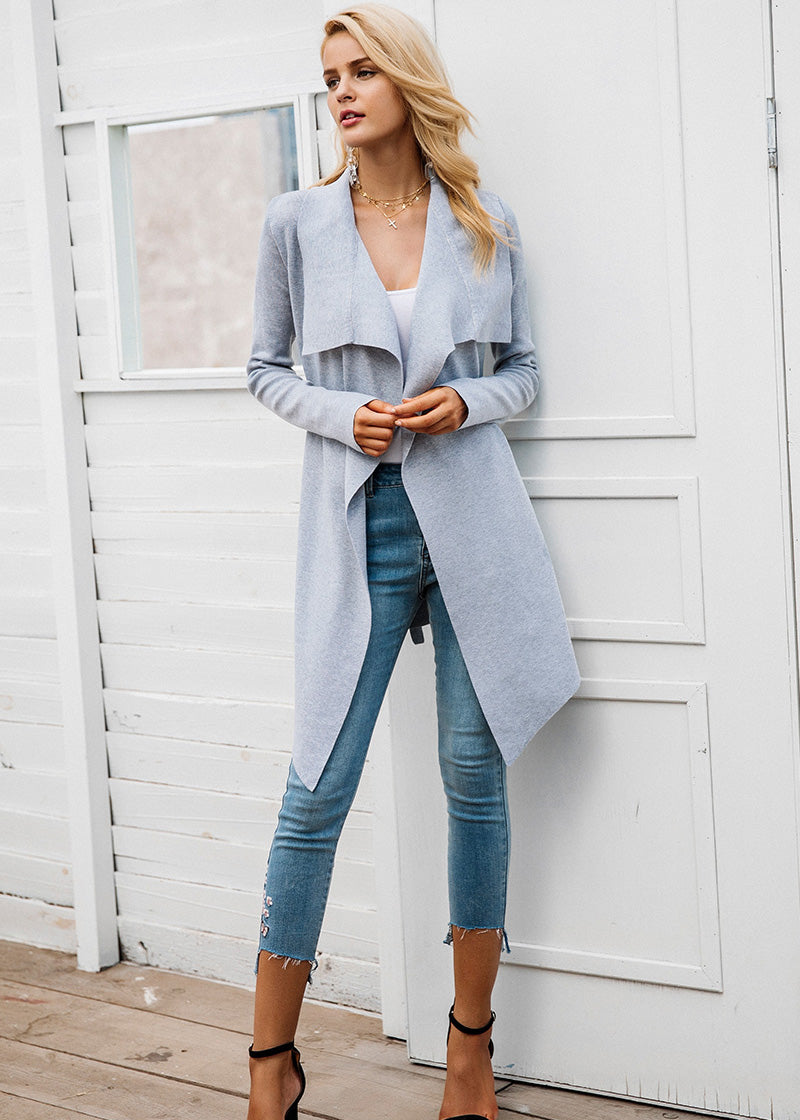 Sydney Elastic Sash Knitting Long Cardigan