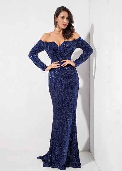 Navy Drop Shoulder V Collar Long Dress