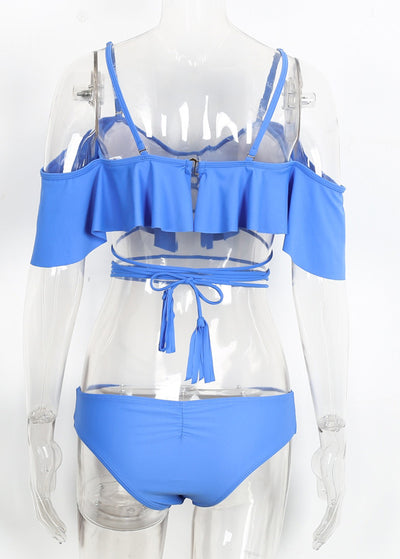 Elegant Bandage Ruffle Padded Brief Set