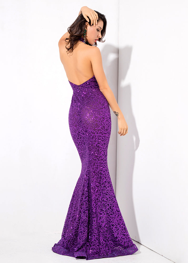 Open Back Glitter Glued Long Dress