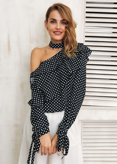 Paige One Shoulder Ruffle Lantern Sleeve Shirt Blouse