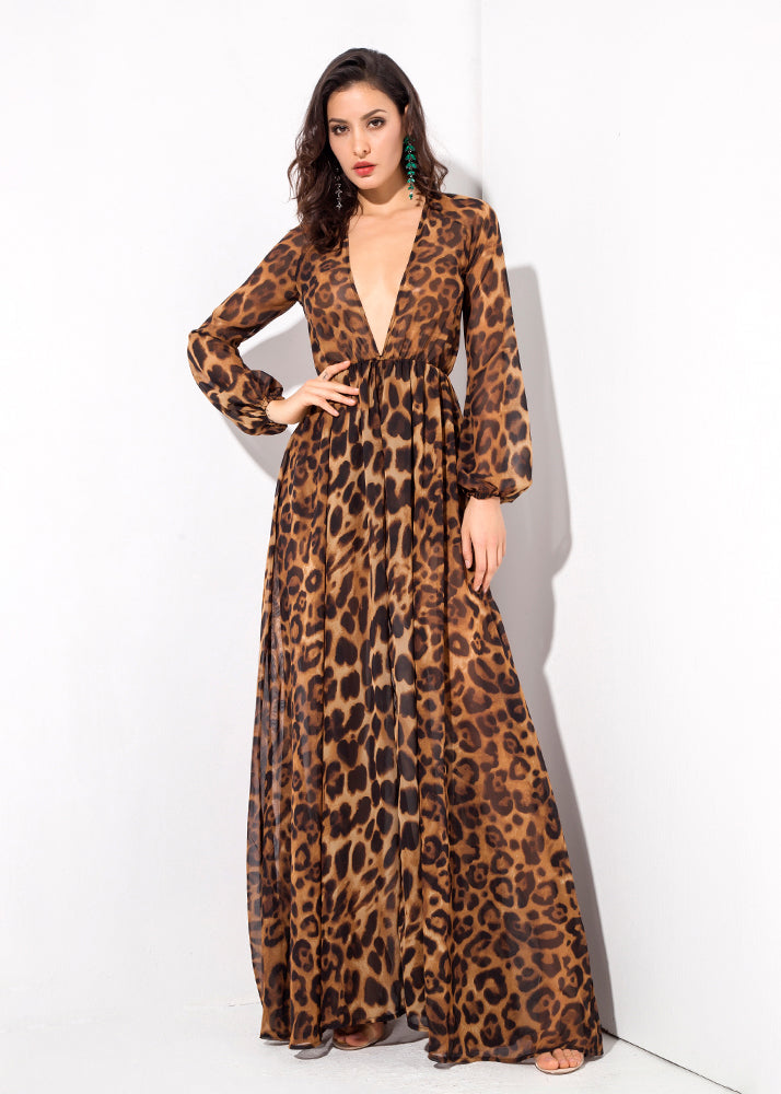 Brown Leopard Deep V-Neck Long-Sleeved Playsuit