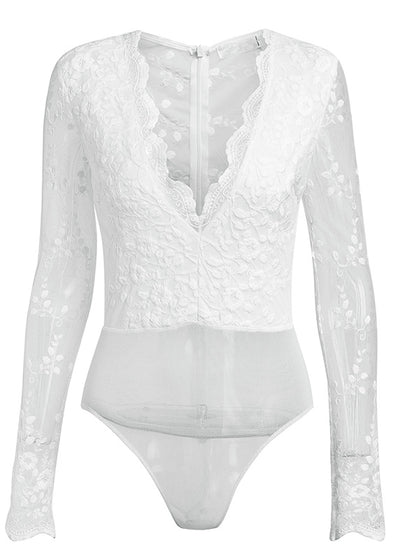 Amina V-neck Lace Slim Sheer Transparent Bodysuit
