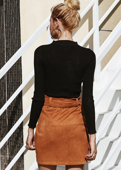 Sash Belt Wrap Suede Leather Skirt