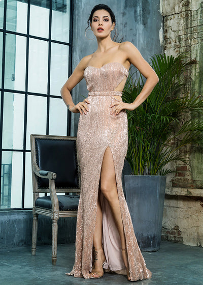 Gold Bra Open Back Long Dress