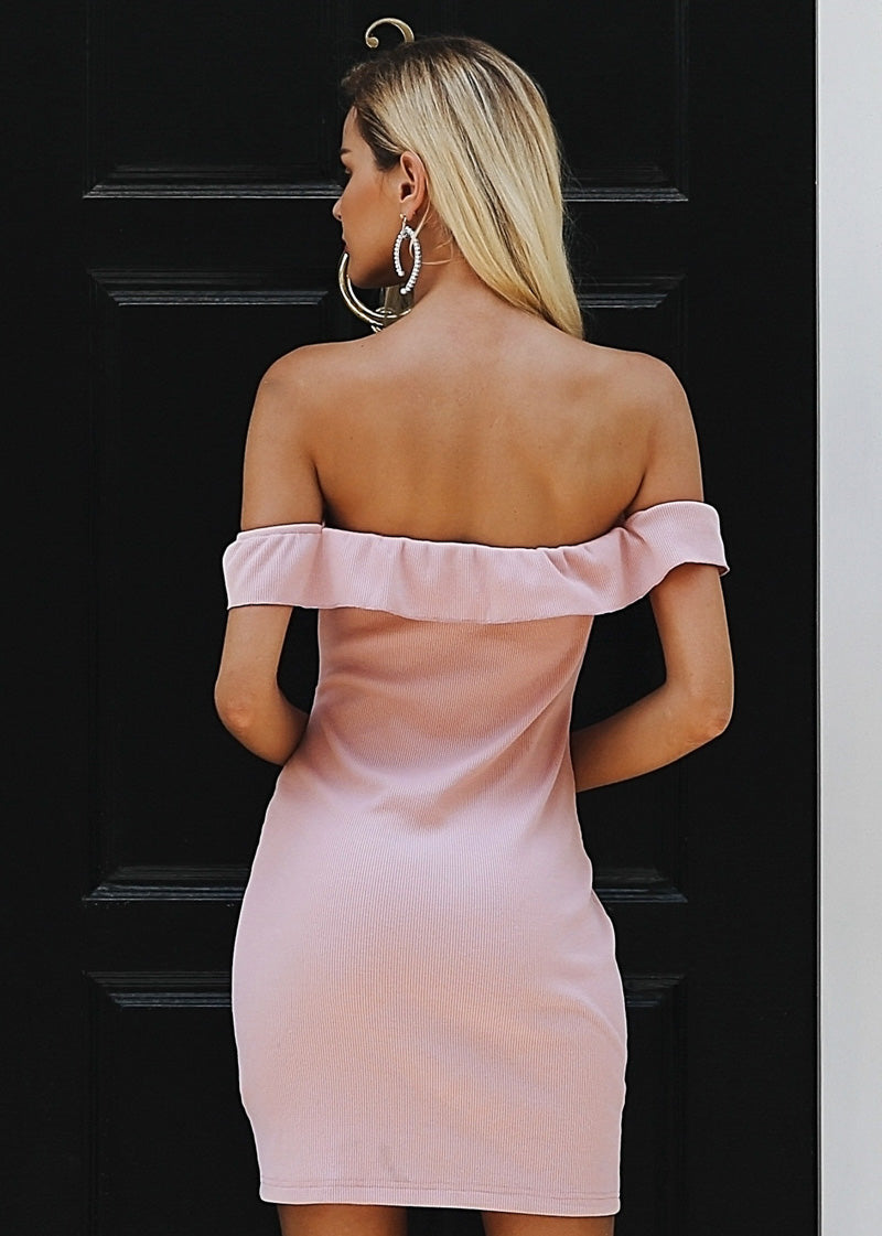 Off Shoulder Drawstring Short Dress
