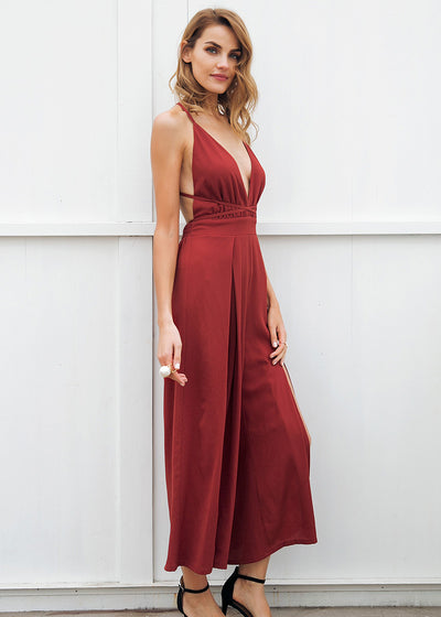Abigail V-Neck Backless Halter Jumpsuit