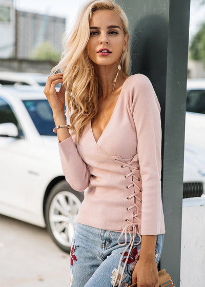 Brianna Lace Up V-neck knitted Sweater