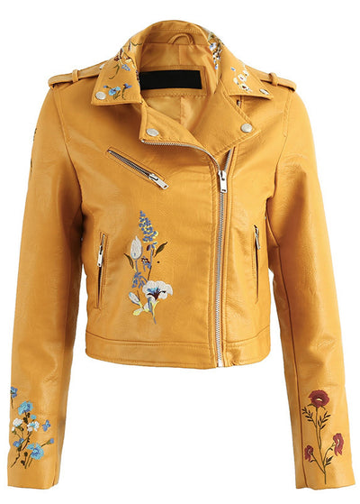 Vera Embroidery Zipper Leather Jacket