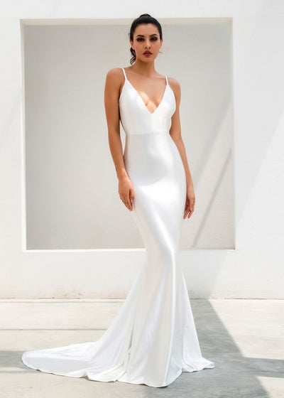 White Deep V-Neck Maxi Dress