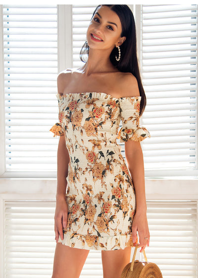 Off Shoulder Casual Ruffle Short Dress