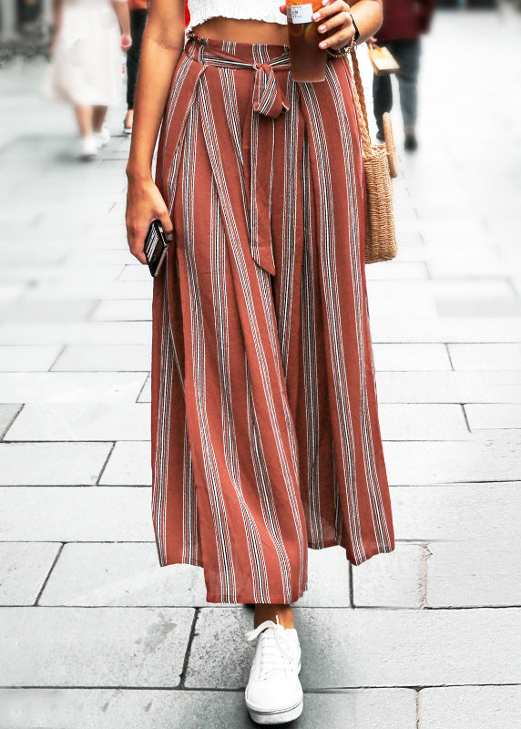 High Split Stripe Wide Chic Leg Pants