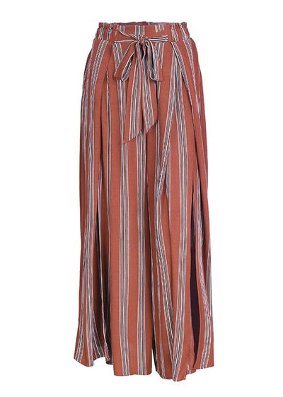 Striped High Waist Loose Split Pant