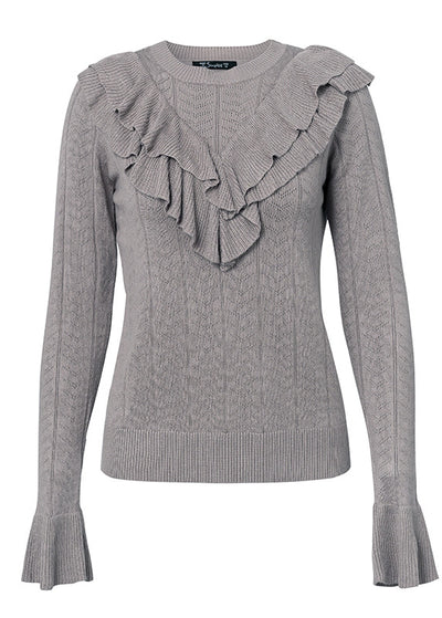 Andrea O-neck Ruffles Hollow Out Sweater