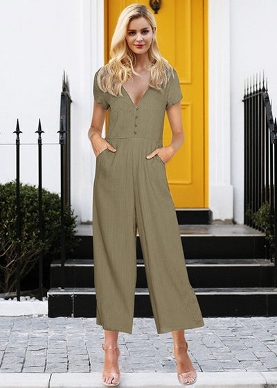 Amelia V Neck Front Button Jumpsuit