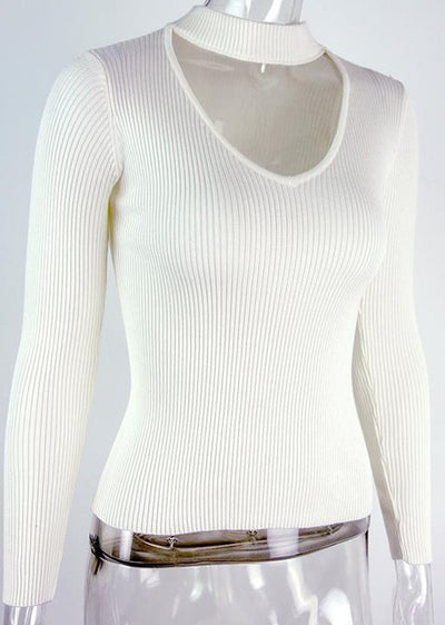 Maggie Short Neck halter knitted sweater