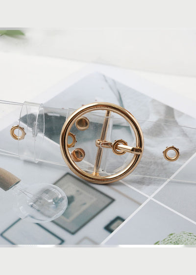 Transparent Pvc Gold Eyelet Buckle Belt