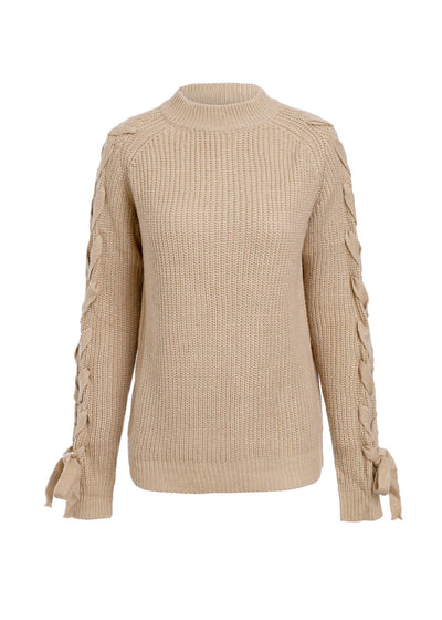 O-neck Knitted Lace Up Sleeve Sweater