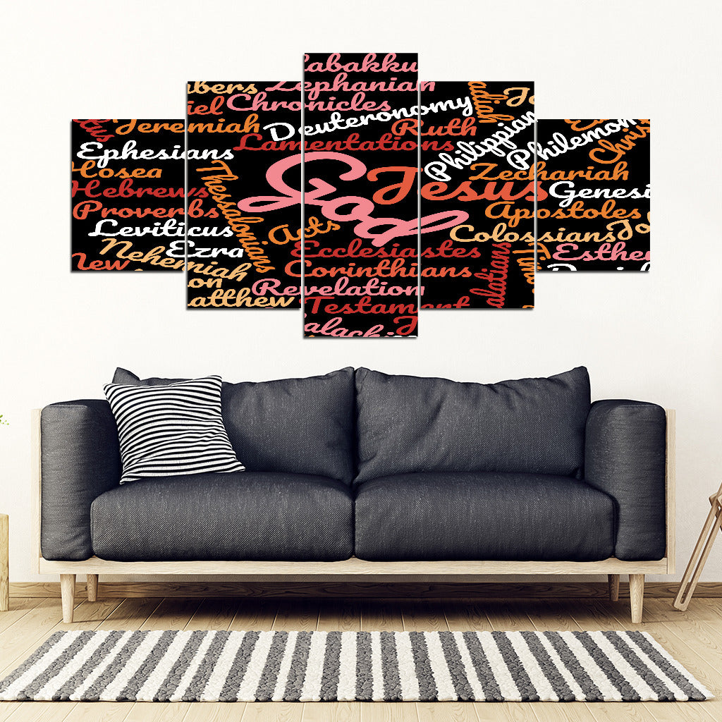 Black Holy Bible Books Wall Art Canvas