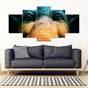 Elephant Statue 5 Piece Framed Canvas