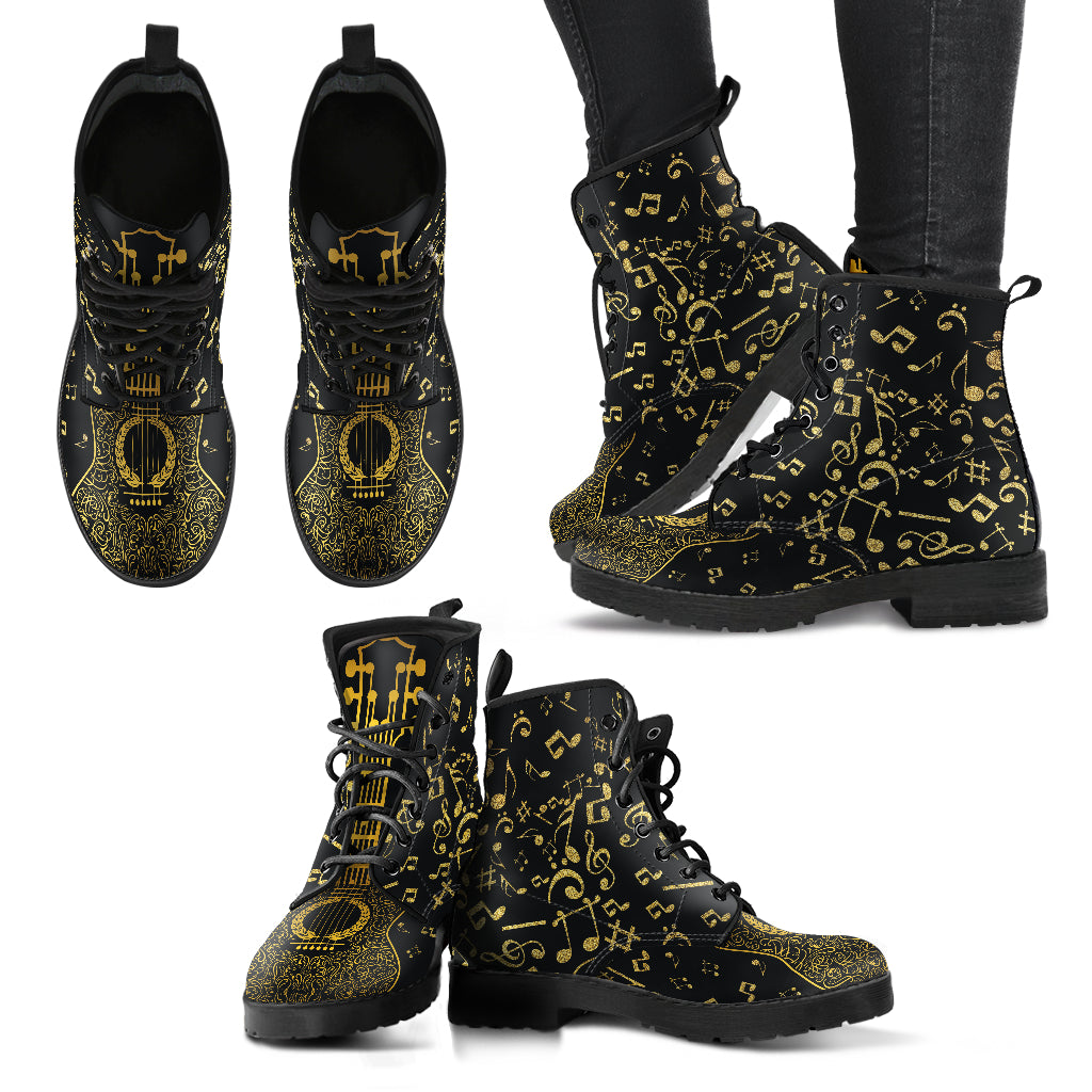 Gold Music Notes Women's Leather Boots