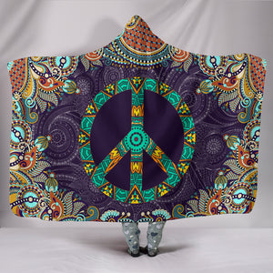 Peace Fractal Mandala Hooded Blanket