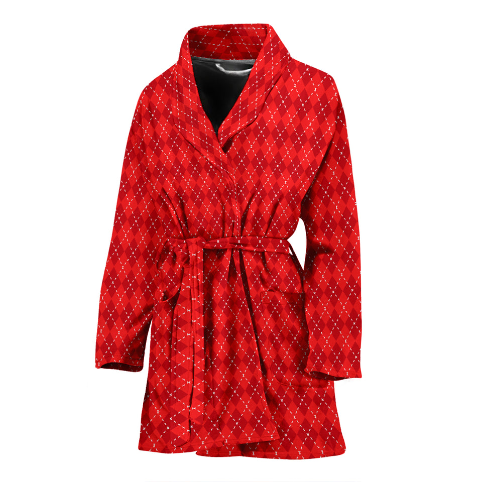 Red Argyle Womens Bathrobe
