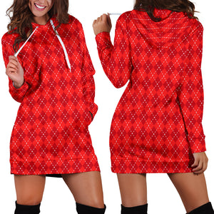 Red Argyle Womens Hoodie Dress