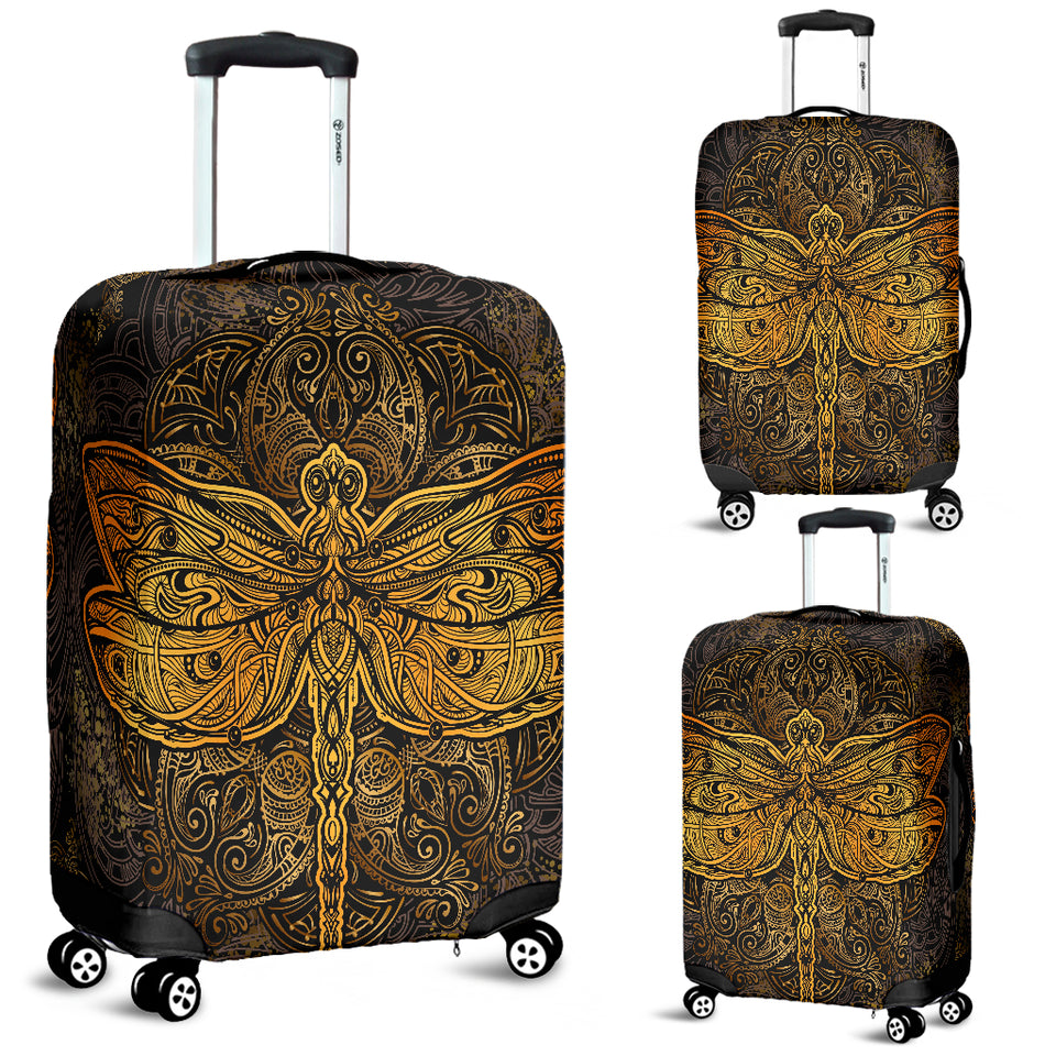 Golden Dragonfly Luggage Cover
