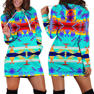 Between the Mountains Fire Hoodie Dress
