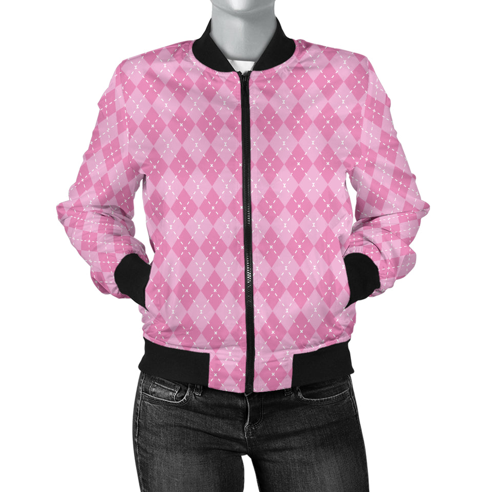 Pink Argyle Women's Bomber Jacket
