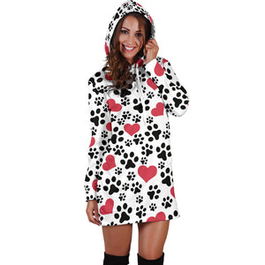 Women`s Hoodie Dress Dog Prints | Premium Ladies Hoodie Dress