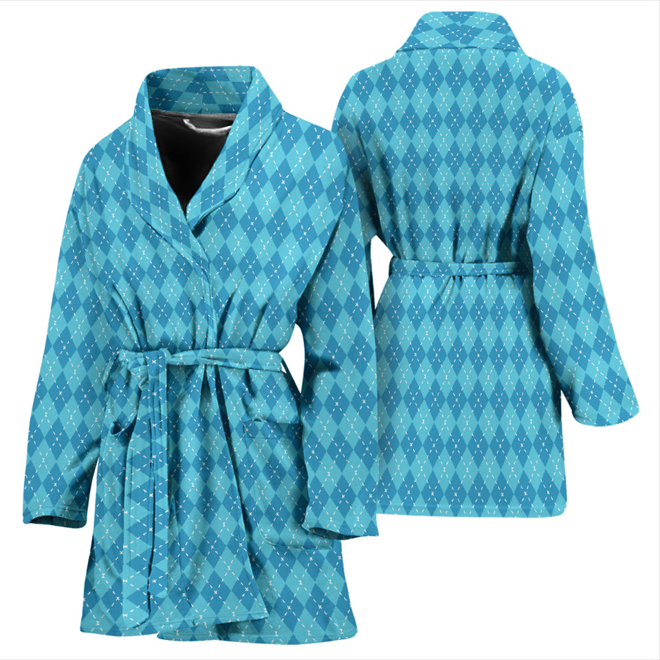 Blue Argyle Womens Bathrobe