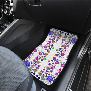 Floral Beadwork Seven Clans White1 Set of 2 Car Mats