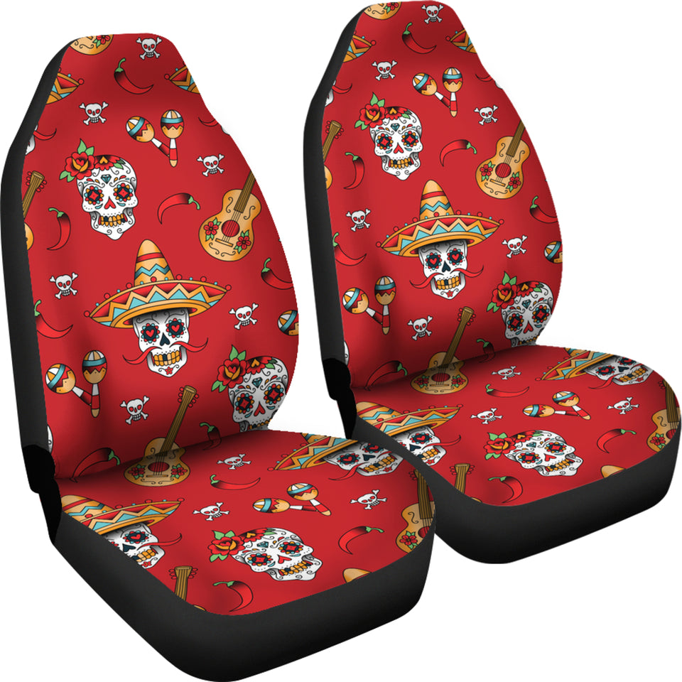 Guitar Sugar Skull Car Seat Covers