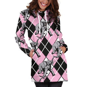 Elephant Argyle Hoodie Dress