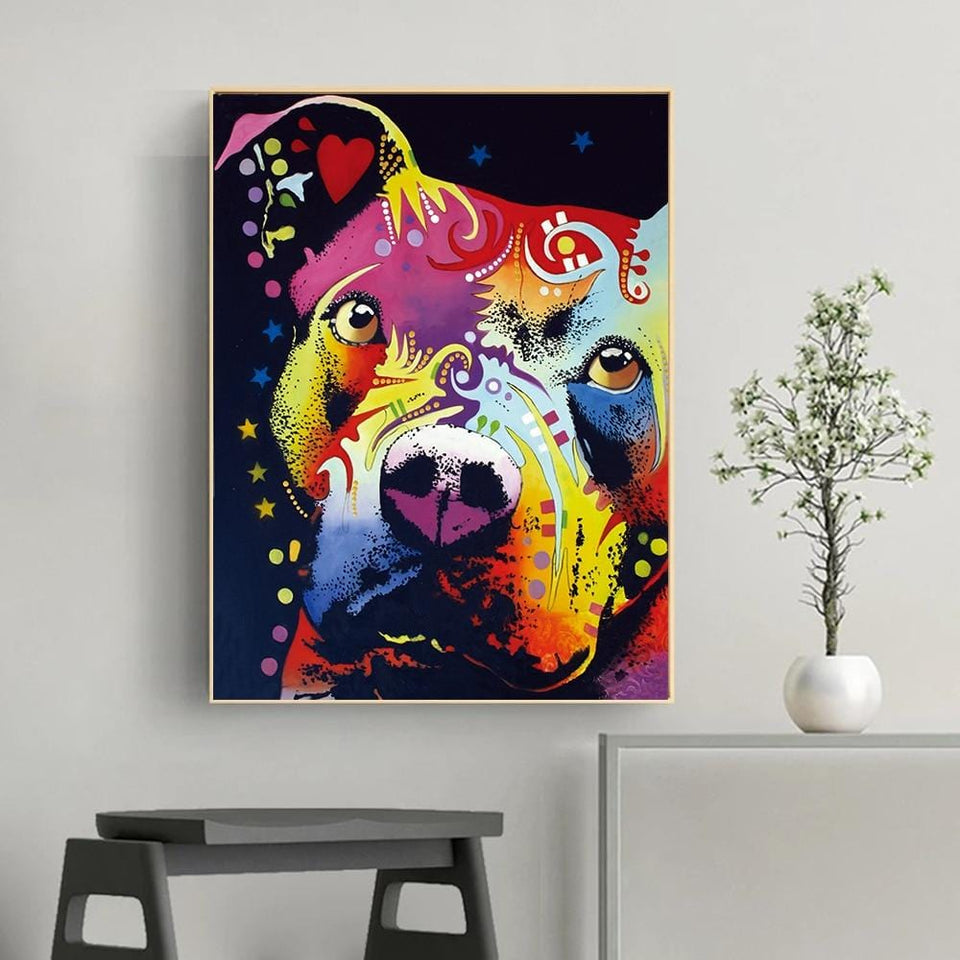 Wall Art Thoughtful Pitbull ( no Framed )
