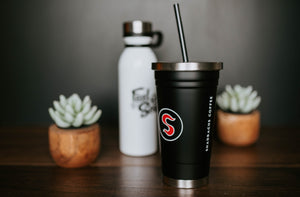 Black Tumbler with Straw