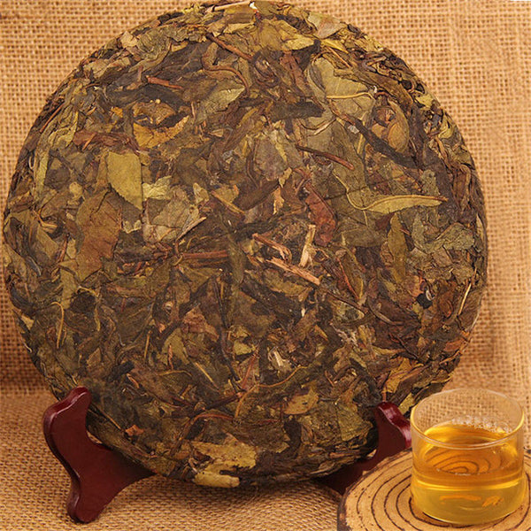 China 357g Spring Puer Cake Pu Erh Raw Pu-erh Green Tea Handmade Fermented Leaf