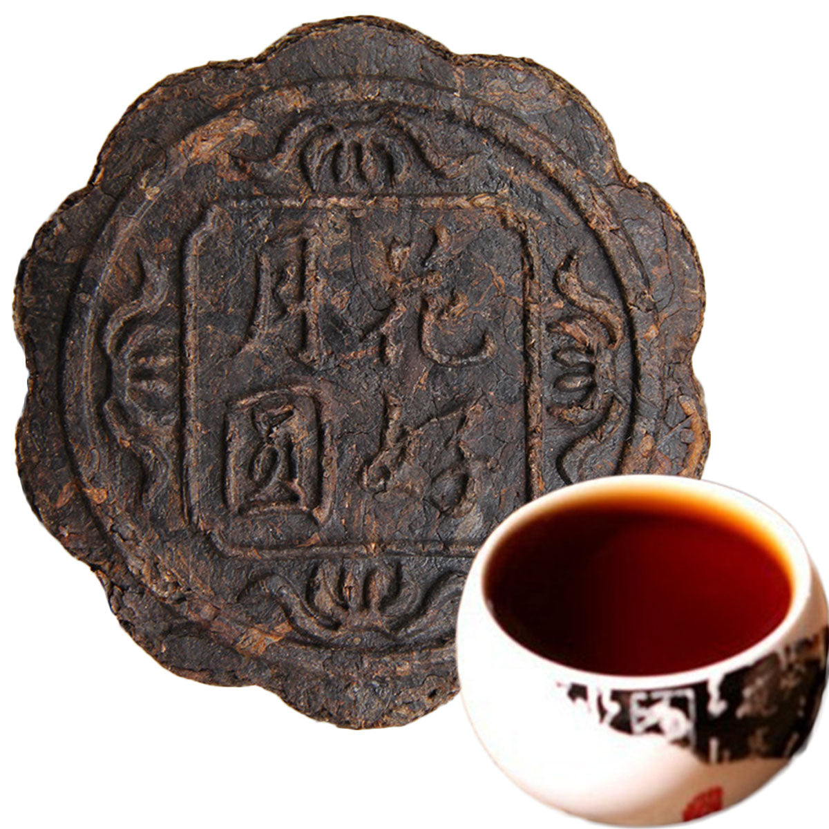 100g Yunnan Puerh Tea Moon Cake Flower Good Moon Round Pu Er Ripe Tea Green Food