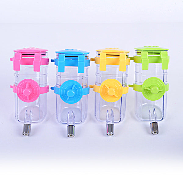 New dog drinking bottle hang up pet dog drinking fountain Random colors stainless steel ball drinking water head easy use