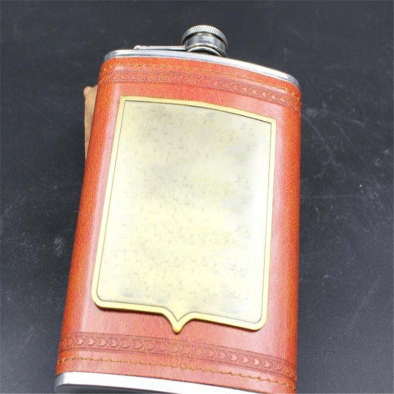 9oz Luxury Stainless Steel Hip Flask 3 Styles Faux Leather Whiskey Wine Bottle Retro Engraving Alcohol Pocket Flagon As Gift 1pc