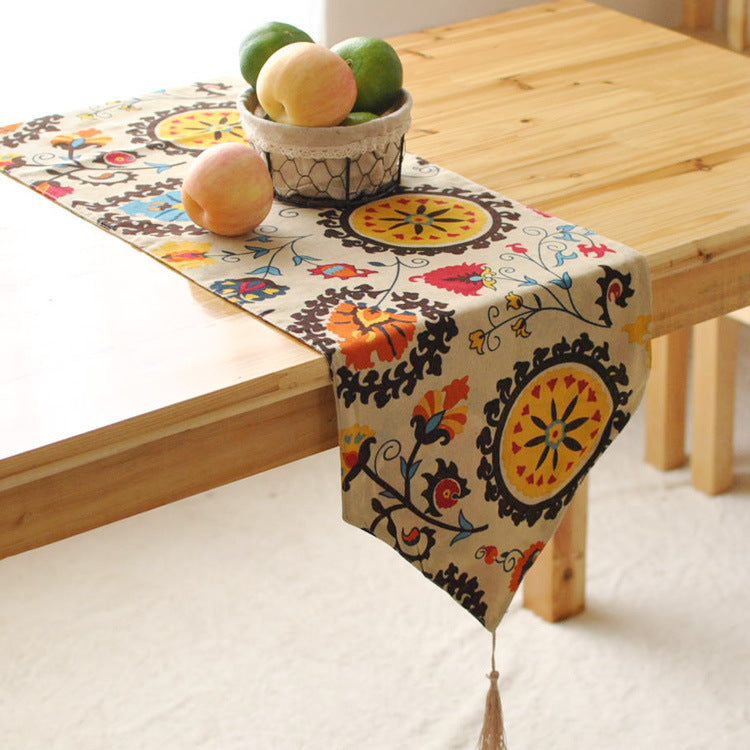 BZ377 Cotton linen table runner sunflower printed kitchen table cover party wedding decoration home textile